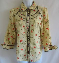 ODILLE ANTHROPOLOGIE Swiss Dot Cherry Print Semi Sheer Fitted Shirt 6 S Blouse  $33.89