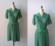1930s dress / vintage 30s dress / polka dot / Jitterbug dress