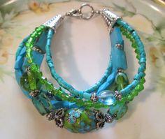Lime Lampwork & Turquoise bracelet by StoneworksByJan on Etsy