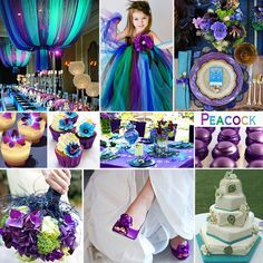 Peacock Wedding Colors - A vibrant and particularly beautiful combination of colors are the Peacock Colors of turquoise, purple, green and blue.