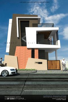 The Indian house 3 Storey House Design, House Main Gates Design, Bungalow House Design, House Front Design, Front Elevation Designs, House Elevation, Modern Architecture House, Architecture Design, Townhouse Exterior