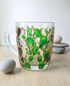 Cactus Mug Succulent mug Cactus decor Cactus Lover Gift Hand Glass Painting Designs, Dot Art Painting, Ceramic Painting, Wine Bottle Images, Wine Bottle Crafts, Bottle Painting, Bottle Art, Mosaic Glass, Glass Art