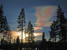 Often known as Mother of Pearl clouds, nacreous clouds are an extremely rare sight. They form between nine and sixteen miles high in the atmosphere and give off a breathtaking iridescent glow. While they form mostly in the polar regions, they have been known to form across the globe during winter and at high altitudes. These beautiful clouds tend to shine brightly just before dawn or in the two hours just after sunset, making for an unforgettable sight.