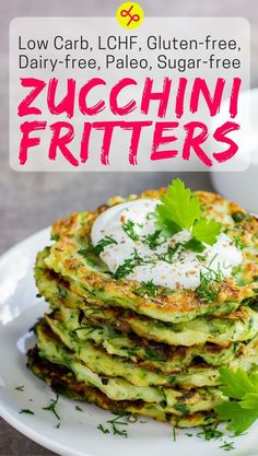 Zucchini Fritters Recipe | Delicious, healthy bread alternative | Low carb, LCHF, Paleo, Dairy-free, Gluten-free, Sugar-free, Wheat-free | #LowCarb #LCHF #Paleo #LowCarbRecipes