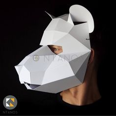 Animal mask low poly papercraft rat mask by Ntanos Cool Masks, Awesome Masks, Egyptian Mask, Low Poly Mask, Pig Mask, Black And White Printer, Lab Rats, Mask Design, 3d Design