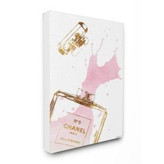 Stupell Industries Glam Perfume Bottle Splash Pink Gold Canvas Wall Art, x - Multi Baby Wall Art, Wood Wall Art, Canvas Wall Art, Canvas Prints, Canvas Paintings, Wall Prints, Perfume Versace, Perfume Calvin Klein, Gold Canvas