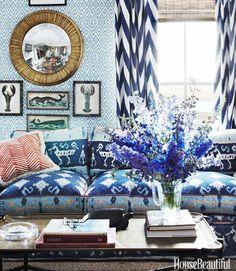 Luxuriate in the Living Room. A 1970s Ikat Sofa Slipcover. Interior Designers: John Knott and John Fondas.