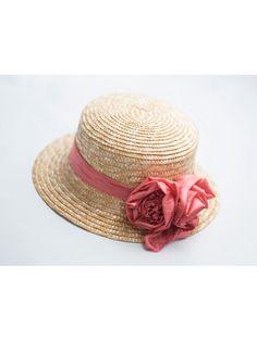 Sombrero 2 Tulipanes. Sombrero de paja adornado con cinta de seda y dos tulipanes también en seda. Puede hacerse en 40 colores diferentes.