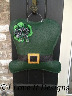St Patrick's Day Burlap Door Hanger by ILoveItDesigns on Etsy, $28.00