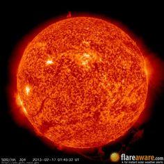The hourly sun (at 01:45 am  UTC on 17 February 2013)