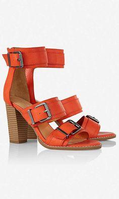 771d1950d0fbf Orange Three Band Stacked Heel Sandal