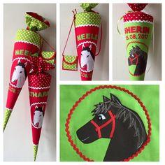 Schultüte aus Stoff mit Pferdekopf, Pferd, Schimmel, später Kissen