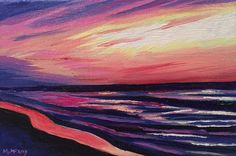 Sunset on Lake Huron, original oil painting for sale by artist Maureen McKay Oil Painting For Sale, Paintings For Sale, Lake Huron, Sunset, Abstract, Artwork, Artist, Work Of Art, Artists