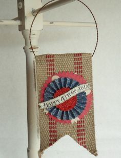 Happy 4th of July Banner on Burlap Pennant