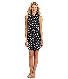 MICHAEL Michael Kors Sleeveless Knotted Shirt Dress #Dillards