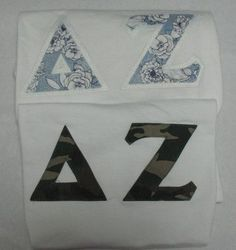 One of our on sale packs, available now. Click through to see how many are available (usually one) and for more information on the items included. It's practically a steal! Custom Greek Apparel, Sorority Outfits, Delta Zeta, Greek Clothing, Bid Day, Screen Printing, Lettering, Greek Outfits, Screen Printing Press