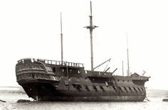 HMS IMPLACABLE; Picture taken 1908 in Portsmouth. In later years, Implacable became a training ship. In 1908 King Edward VII intervened to save her, and in 1912 she was handed over to philanthropist Geoffrey Wheatley Cobb (died 1931) for preservation and use as a boys' training ship.