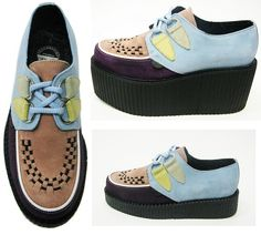 Fam Irvoll x Underground triple sole & regular colour blocked suede creepers AW12
