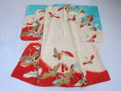 Japanese Vintage Girl's Kimono Silk White Light Blue Red Crane P102018 | eBay