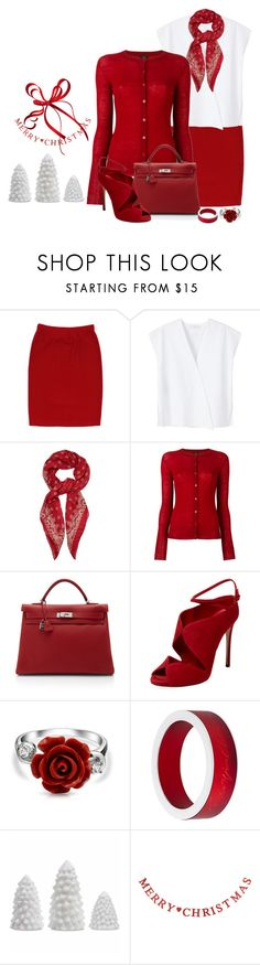 """""""Red and White"""" by terry-tlc ❤ liked on Polyvore featuring St. John, MANGO, Yves Saint Laurent, Joseph, Hermès, Casadei, Bling Jewelry, Giorgio Armani, women and fashionset"""