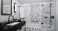 Moderne Badgestaltung: Schwarz-Weiss ist immer Trend Bath Screens, Modern, Bathtub, Bathroom, Bathroom Remodeling, White Interiors, Monochrome, Standing Bath, Washroom