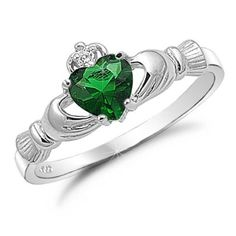 """Emerald"" claddaugh ring -- really CZ. Very celtic."