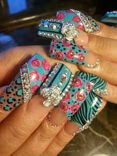 Bling bling nail art designs by bessie Fabulous Nails, Gorgeous Nails, Pretty Nails, Nail Art Designs, Pretty Nail Designs, Nails Design, Bling Nail Art, Bling Nails, Bling Bling