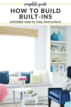 DIY built-in bookshelves with a bench seat tutorial printable step-by-step instructions with measurements worksheet. Bookshelves Built In, Built In Desk, Built Ins, Living Room Wall Units, Living Rooms, Diy Furniture Hacks, Farmhouse Furniture, Diy On A Budget, Bench Seat