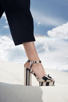 Loeffler Randall SS16 Lookbook - Arbella Platform Sandal in Striped Canvas