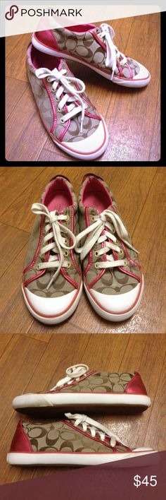 Coach Barrett sneaker Classic Coach logo sneaker in tan and metallic pink. Normal wear and tear but overall pretty clean, lots of life left! Coach Shoes Sneakers