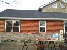 Log Cabin Siding direct from the manufacturer in Flomaton, AL - Southern Wood Specialties - P: 251-296-2556 Heart Pine Flooring, Pine Floors, Log Cabin Siding, Mobile Home, Stain Colors, Southern, Yellow, Wood, Outdoor Decor