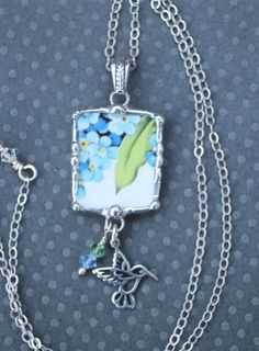 Necklace Broken China Jewelry Forget Me Not by Robinsnestcreation1