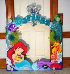 Little mermaid birthday party photo frame! Mermaid Theme Birthday, Little Mermaid Birthday, Little Mermaid Parties, Disney Little Mermaids, The Little Mermaid, 6th Birthday Parties, 1st Birthday Girls, Birthday Party Decorations, Party Frame