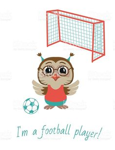 Owl Boy Soccer Player Vector Illustration Royalty Free Stock Art
