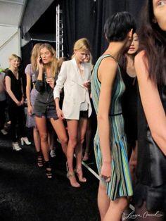 Models before the run-through at Rebecca Minkoff's Spring 2013 show #FashionWeek
