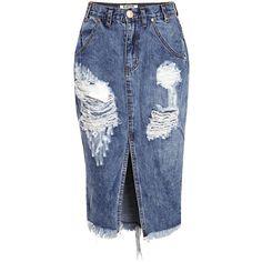 One Teaspoon Distressed Skirt ($93) ❤ liked on Polyvore featuring skirts, denim, knee length denim skirt, pencil skirt, calf length skirts, midi pencil skirt and ripped denim skirt