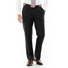 Axist® Ultra Series Straight-Fit Solid No-Iron Performance Flat-Front Dress Pants
