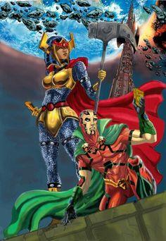 Mister Miracle & Big Barda by Comic Book Girl, Comic Book Heroes, Comic Books Art, Book Art, Comic Style, Big Barda, Dc World, Black Comics, Arte Dc Comics