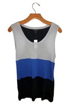 Banana Republic Colorblock Tank Brand New Sold by Stella Saksa #stellasaksa #bananarepublic #stripe #colorblock #black #blue #gray #tank