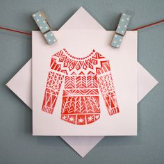 Winter Woolly Linocut Christmas Card - Red. £3.00, via Etsy.
