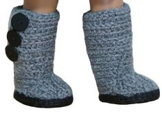 (4) Name: 'Crocheting : Mini Sweater Boots - American Girl Dolls