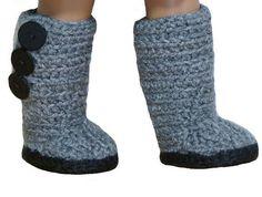 (4) Name: 'Crocheting : Mini Sweater Boots - American Girl Dolls
