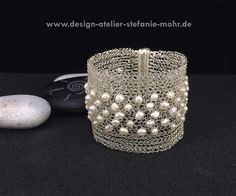 wire crochet cuff bracelet, silver plated, tarnish protected with fresh water pearls Bracelets For Men, Jewelry Bracelets, Bangles, Wire Crochet, Necklace Set, Silver Plate, Jewelry Box, Water Pearls, Pure Products