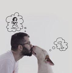 Geniales ilustraciones de Rafael Mantesso y su perro Jimmy Choo.   #ilustracion #dibujo #creatividad