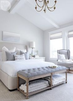 master bedroom, white bedroom, windows, curtains, shade, bench, king size bed, chair, sitting area in bedroom, lamp, pillows, sheets, cathedral ceilings, gray and white, rug, master bedroom, storage, end tables, bed side tables, elegant, cozy #afflink