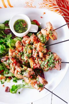Kanavartaat ja thai-vinegretti // Chicken skewer & Thai vinaigrette Food…
