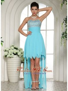 Aqua Blue Beaded Empire Sweetheart 2013 High-low Prom Dress For Custom Made  http://www.fashionos.com  Do you want to be the unique one in your party? This appealing prom dress is sure to be your best choice! It features a strapless sweetheart neckline bodice heavily embellished with shimmering beadings.