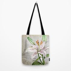 #lily #lilium #sketch #paris #eiffeltower #vintage #flowers #floral #woman #girly #pretty #shabby #spring #summer available in different #homedecor products. Check more at society6.com/julianarw #totebag