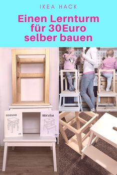 DIY Lernturm für Kinder Ikea hack for 30 euros. How to build a DIY learning tower yourself, I'll Crafts For Teens To Make, Diy For Kids, Diy And Crafts, Decor Crafts, Diy Kitchen Projects, Diy Projects, Kitchen Craft, Diy Hacks, Diy Kallax