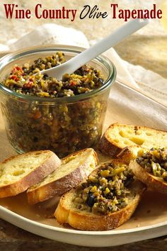 Wine Country Sun-Dried Tomato and Olive Tapenade Recipe - Dairy Free Quick Recipes, Vegan Recipes, Olive Recipes, Yummy Recipes, Vegan Ideas, Special Recipes, Party Recipes, Vegan Desserts, Recipies